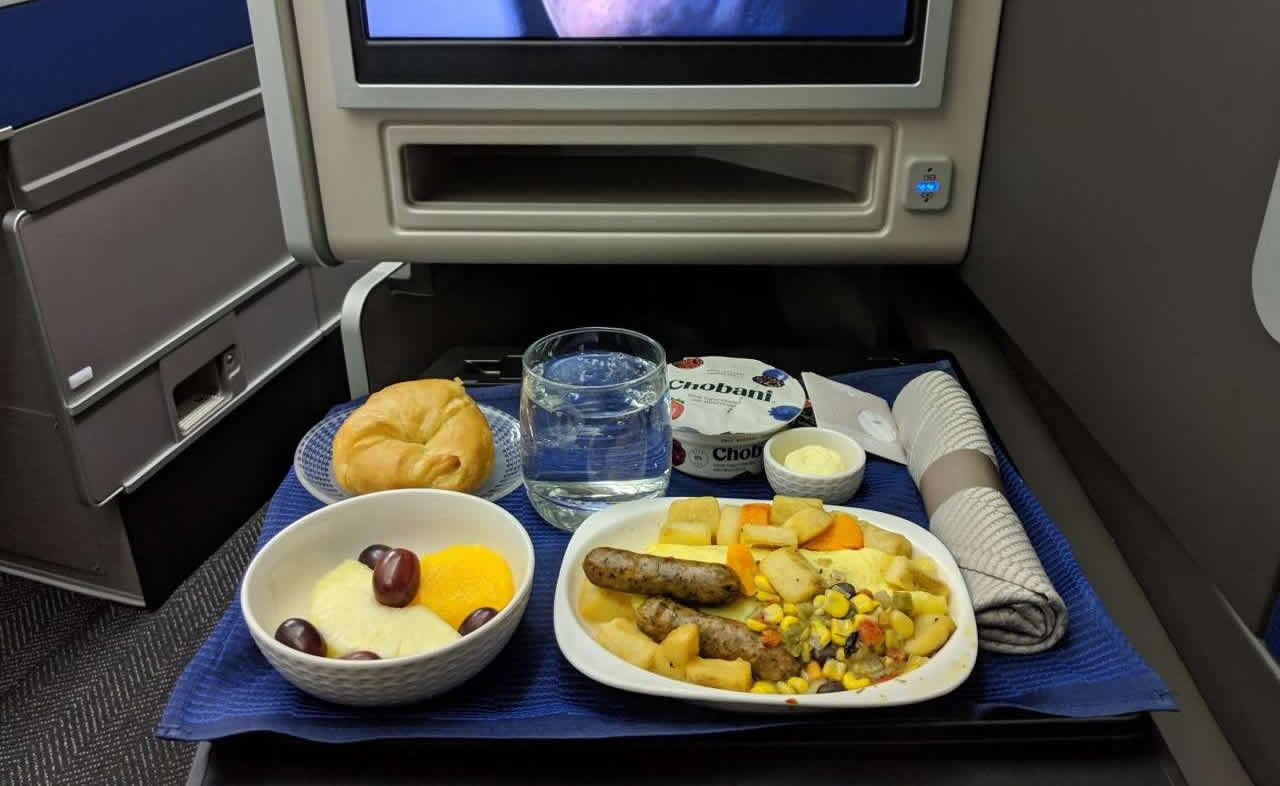 United Airlines first-class meal