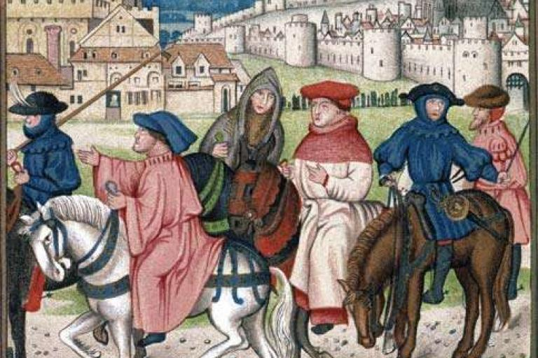 Christian pilgrims traveling to the shrine of St. Thomas Becket